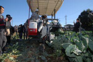 野菜流通カット協議会=生産の効率化へ開発中の収穫機を初公開